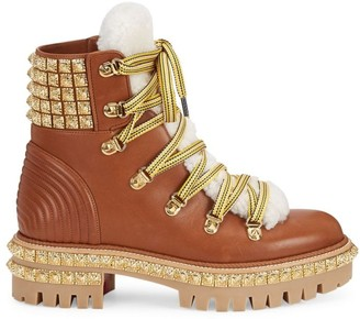 Christian Louboutin Yeti Donna Shearling-Trimmed Leather Hiking Boots
