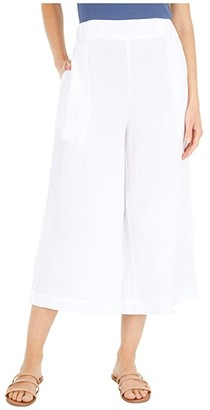 Three Dots Pull-On Crop Pants in Double Gauze (White) Women's Casual Pants
