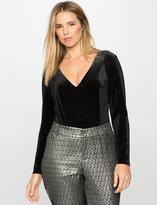 ELOQUII Plus Size Studio Long Sleeve Velvet Bodysuit