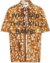 Burberry Short-sleeve Slogan Deer Print Cotton Shirt