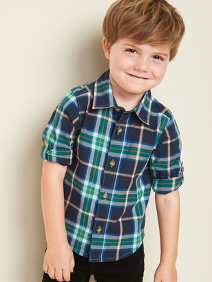 Old Navy Plaid Built-In Flex Roll-Sleeve Shirt for Toddler Boys