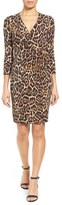 Anne Klein Animal Print Faux Wrap Dress