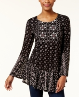 Style&Co. Style & Co Style & Co Petite Mixed-Print Ruffled Top, Created for Macy's