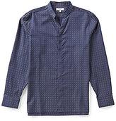 Murano Long-Sleeve Slim-Fit Mini Pattern Mandarin Sportshirt