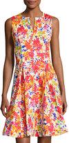 Chetta B Split-Neck Floral-Print Fit-and-Flare Dress, Multi Pattern