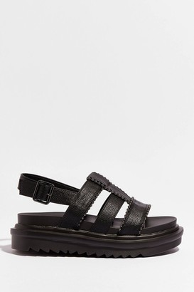 Nasty Gal Womens Strap to Reality Faux Leather Chunky Sandals - Black