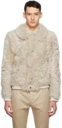 Saint Laurent Off-White Shearling Jacket