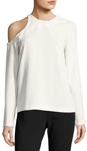 IRO Bherock Cold-Shoulder Long-Sleeve Crepe Top