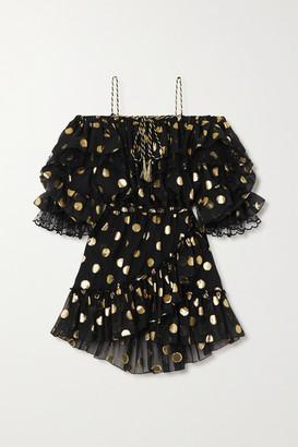 Dundas Ruffled Point D'esprit Tulle And Fil Coupe Silk-blend Chiffon Mini Dress - Black