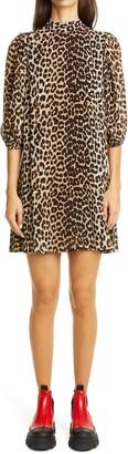 Ganni Leopard Print Puff Sleeve Georgette Minidress