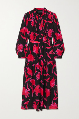 Saloni Remi Floral-print Silk Crepe De Chine Midi Dress - Black