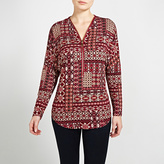 Apricot Burgundy Tribal Patchwork Print Long Sleeved Top
