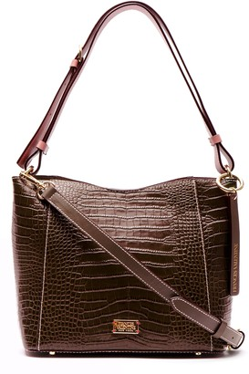 Frances Valentine Small June Croc Embossed Leather Hobo