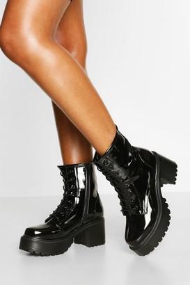 boohoo Patent Block Heel Chunky Combat Boots