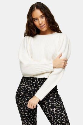 Topshop Womens Petite Ivory Pleated Sleeve Cropped Knitted Jumper - Ivory