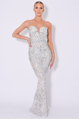 Nazz Collection Kenza Luxe Sweetheart Plunge Sequin Embellished Dress