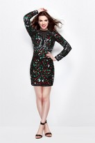 Primavera Couture - Long Sleeve Fitted Short Dress 1301