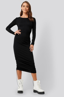 NA-KD Side Tie Ruched Long Sleeve Dress Black
