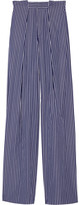 Tod's Striped Cotton-poplin Wide-leg Pants - Navy