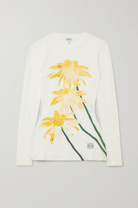 Loewe Floral-print Cotton-jersey Top - White