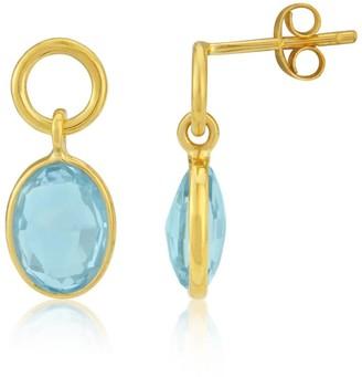 Auree Jewellery Cannes Gold Vermeil Circle and Blue Topaz Drop Earrings
