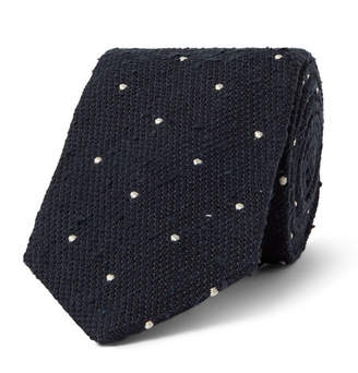 Drakes Drake's 8cm Embroidered Polka-Dot Slub Silk Tie
