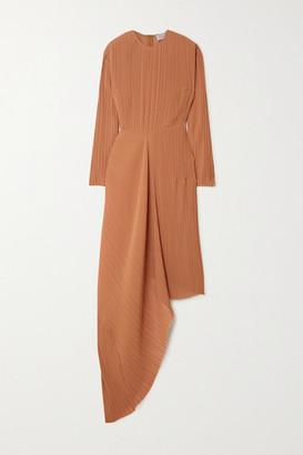 Preen by Thornton Bregazzi Glenda Asymmetric Plisse-georgette Midi Dress - Brown