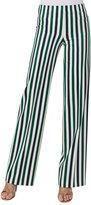 Akris Punto Mikka Striped Wide-Leg Pants, Green Pattern