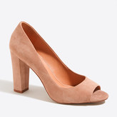 J.Crew Factory Olive suede peep-toe pumps