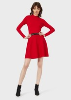 Emporio Armani Plain Knit, Funnel-Neck Dress With Jacquard Logo