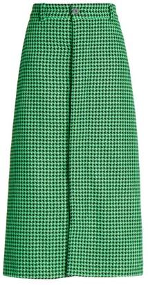 Balenciaga Houndstooth Wool-Blend Midi Wrap Skirt