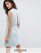 Warehouse Open Back Bonded Lace Dress