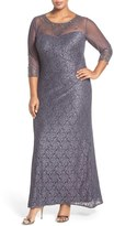 Alex Evenings Illusion Neck A-Line Lace Gown (Plus Size)