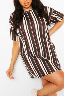 boohoo Plus Stripe Oversized Tshirt Dress