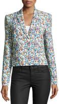 Versace Floral-Print Single-Button Blazer, Multi Colors