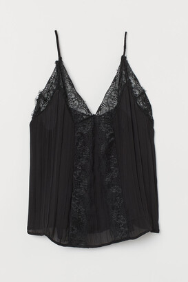H&M Camisole Top with Lace - Black