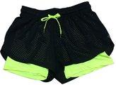 Uskincare Womem's Sports Shorts Hollow 2 Layers Pants Elastic Quick Dry Beach Running (M, )