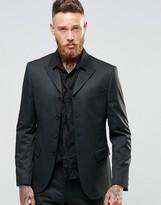 Asos Slim Four Button Suit Jacket In Tonal Pinstripe