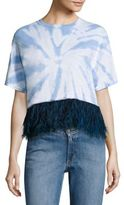 Opening Ceremony Feather-Trim Cropped Tie-Dye Tee