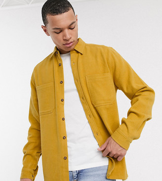 ASOS DESIGN Tall brushed flannel overshirt in mustard