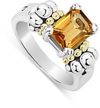 Lagos Sterling Silver & 18K Yellow Gold Glacier Citrine Ring