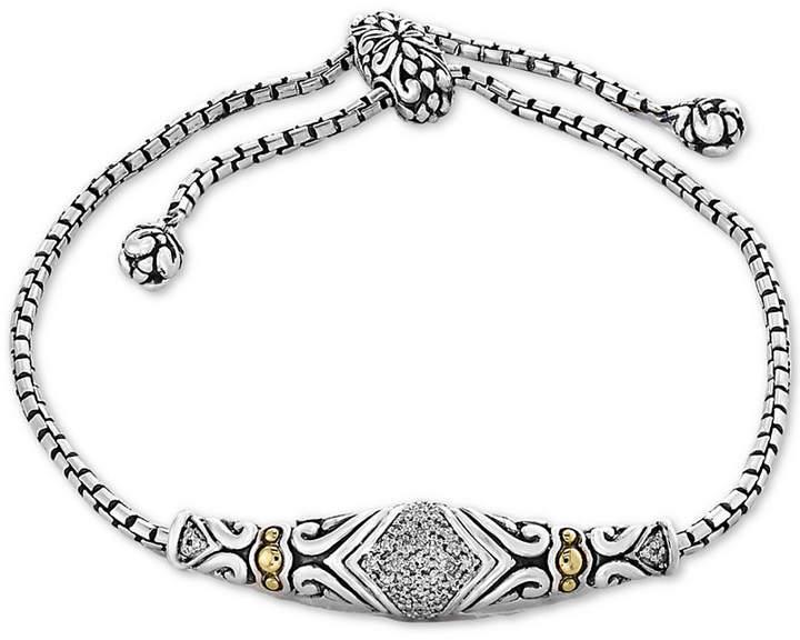 Effy Balissima by Diamond Slider Bracelet (1/8 ct. t.w.)in Sterling Silver & 18k Gold