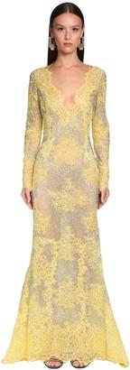 Ermanno Scervino Embellished Sheer Lace Long Dress