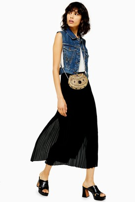 Topshop Black Pleated Side Button Midi Skirt