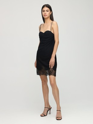 Ermanno Scervino Wool Blend & Lace Knit Bustier Dress
