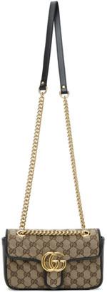 Gucci Beige and Black Supreme Mini GG Marmont 2.0 Flap Bag