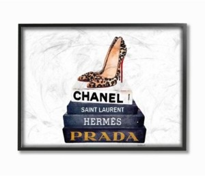 "Stupell Industries Glam Fashion Book Set Leopard Pumps Heels Framed Giclee Art, 11"" x 14"""
