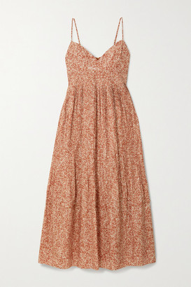 Nicholas Susan Printed Cotton And Silk-blend Maxi Dress - Brick