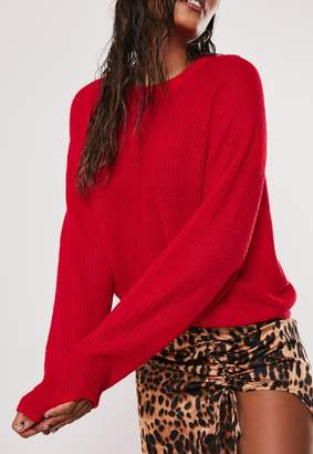 Missguided Red Oversized Crew Neck Balloon Sleeve Jumper