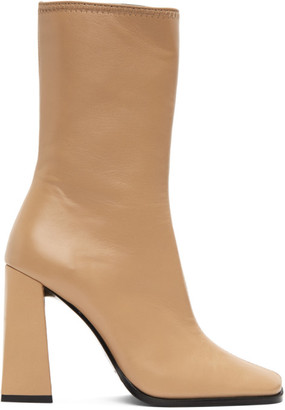 BY FAR Beige Linda Heeled Boots